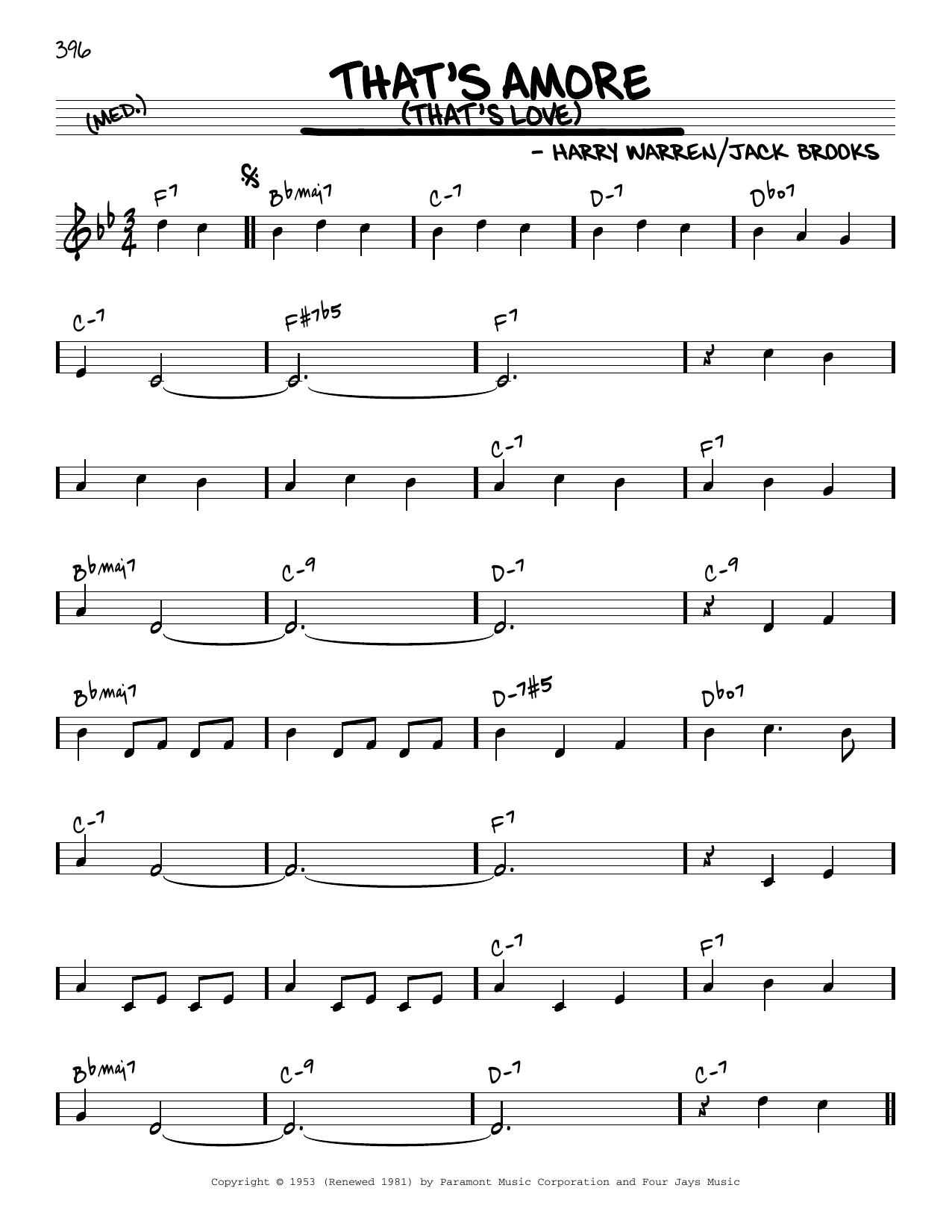 Harry Warren That's Amore (That's Love) [Reharmonized version] (arr. Jack Grassel) sheet music notes printable PDF score