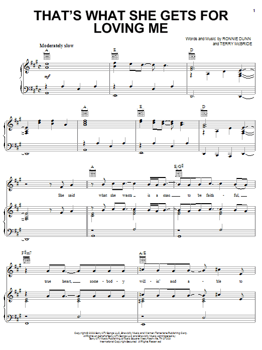 Brooks & Dunn That's What She Gets For Loving Me sheet music notes printable PDF score