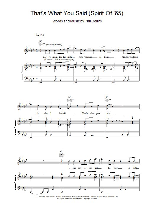 Phil Collins That's What You Said (Spirit Of '65) sheet music notes printable PDF score
