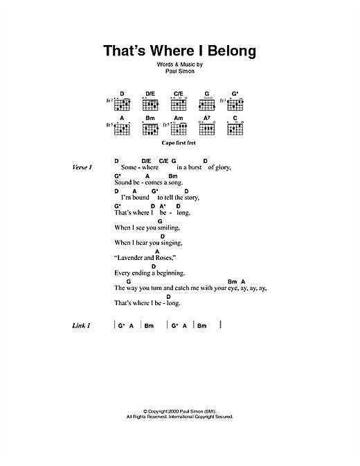 Paul Simon That's Where I Belong sheet music notes printable PDF score