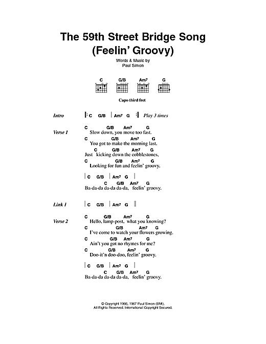 Simon & Garfunkel The 59th Street Bridge Song (Feelin' Groovy) sheet music notes printable PDF score