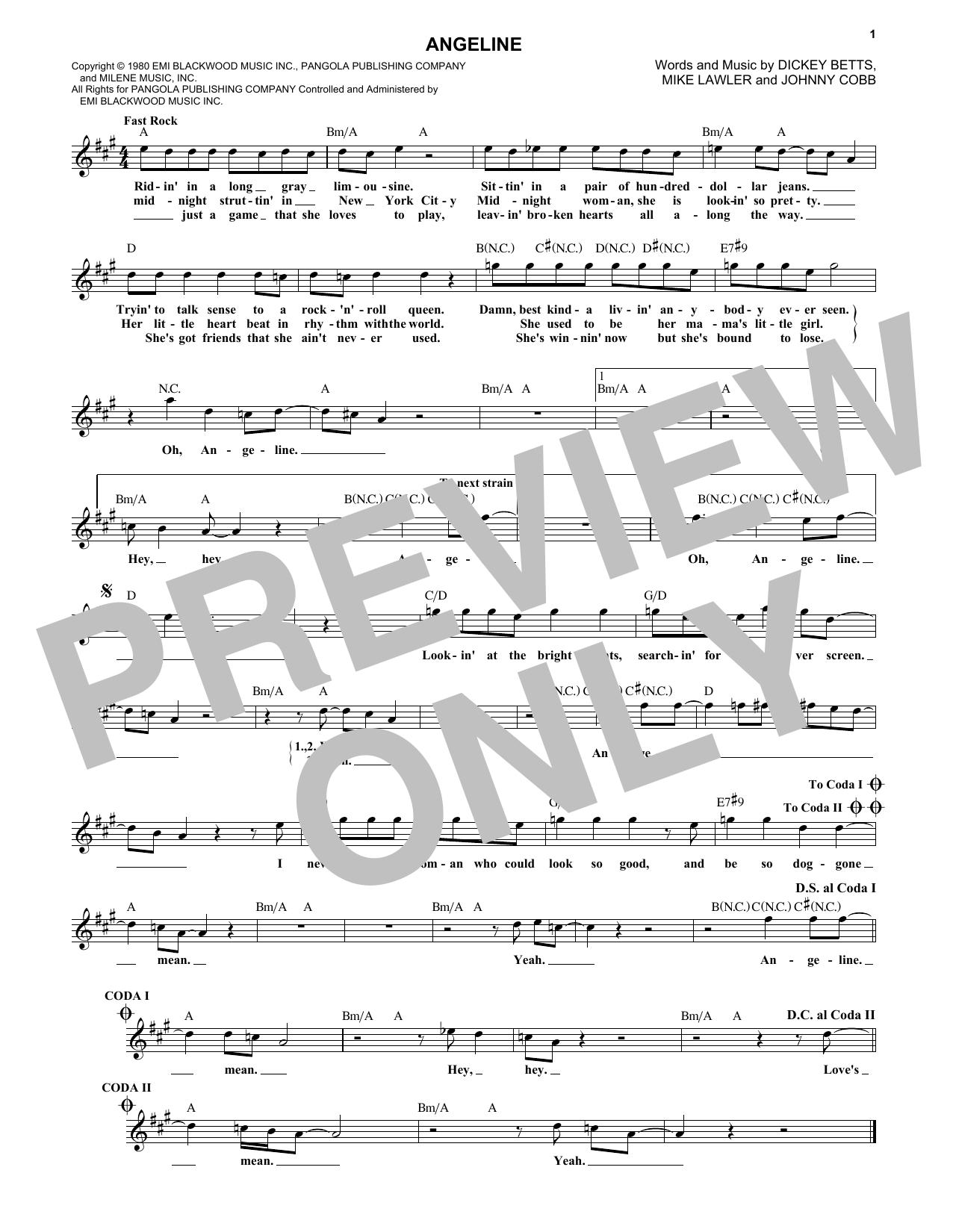 The Allman Brothers Band Angeline sheet music notes and chords. Download Printable PDF.