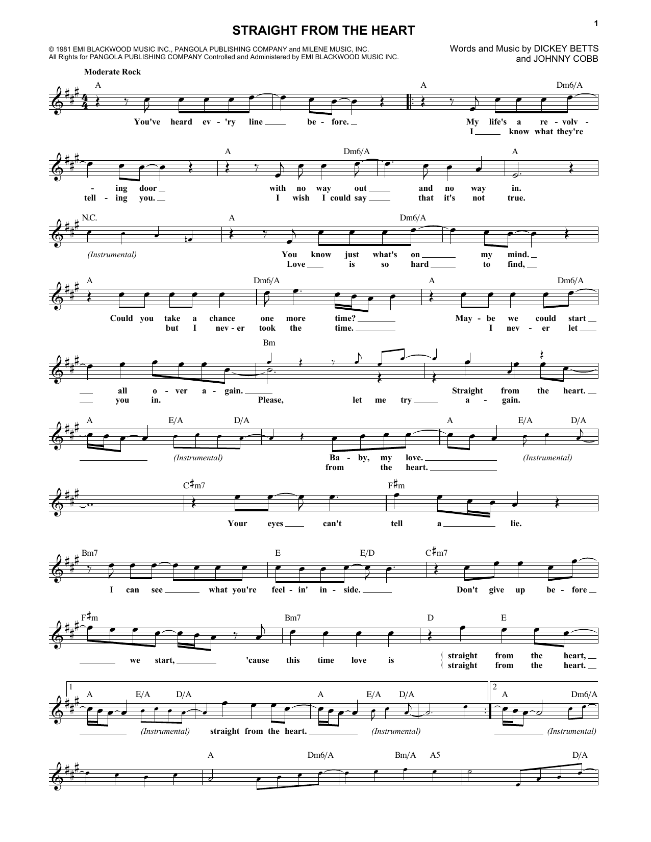 The Allman Brothers Band Straight From The Heart sheet music notes and chords. Download Printable PDF.