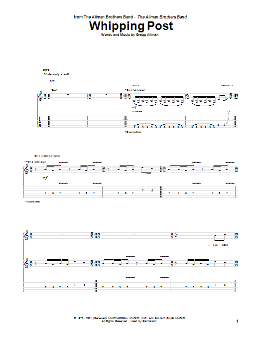 The Allman Brothers Band Whipping Post sheet music notes and chords. Download Printable PDF.