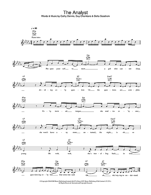 Delta Goodrem The Analyst sheet music notes printable PDF score