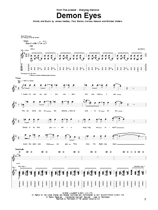 The Answer Demon Eyes sheet music notes and chords. Download Printable PDF.