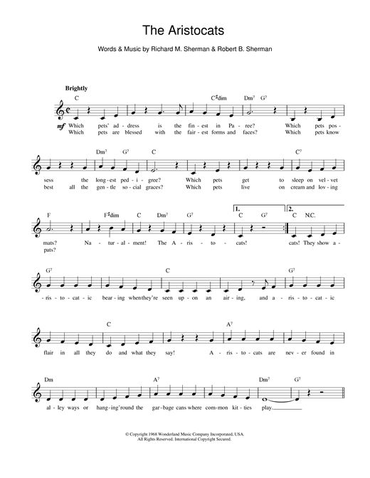 Sherman Brothers The Aristocats sheet music notes printable PDF score
