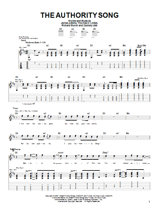 Jimmy Eat World The Authority Song sheet music notes printable PDF score