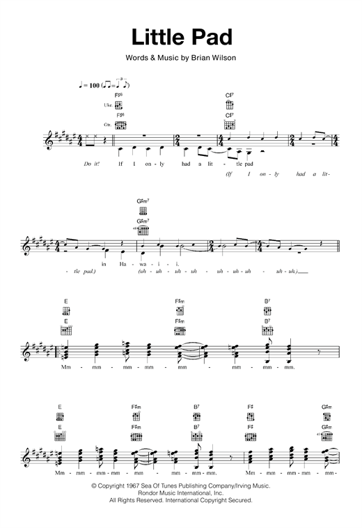 The Beach Boys Little Pad sheet music notes and chords. Download Printable PDF.