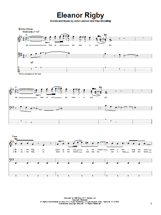 The Beatles Eleanor Rigby sheet music notes printable PDF score