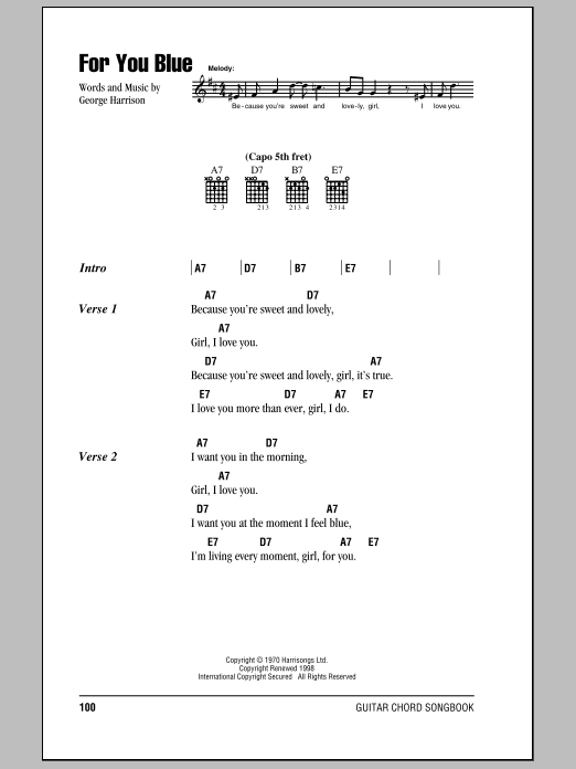 The Beatles For You Blue sheet music notes printable PDF score