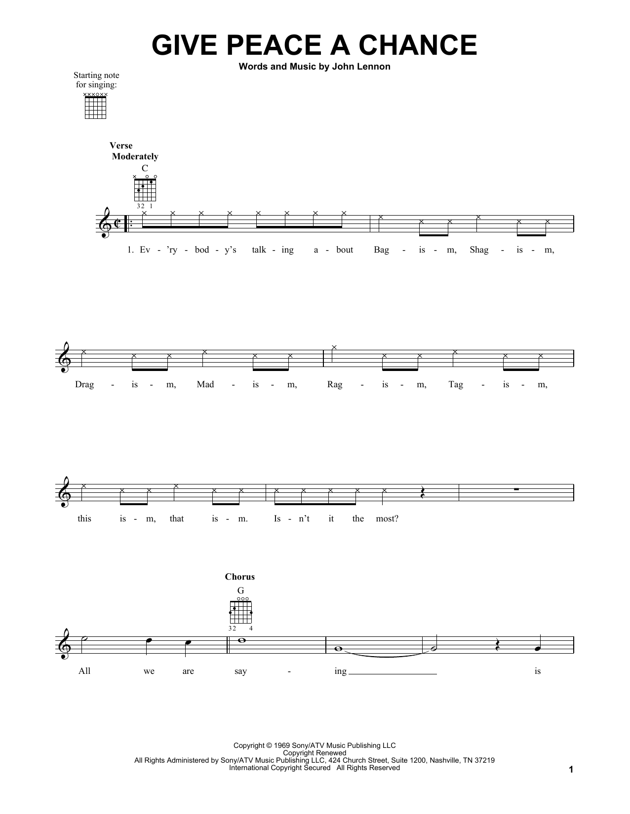 The Beatles Give Peace A Chance sheet music notes and chords. Download Printable PDF.