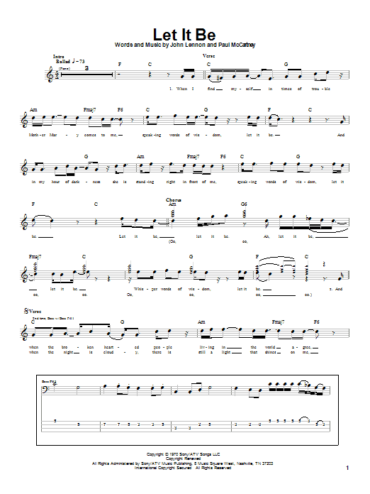 The Beatles Let It Be sheet music notes printable PDF score