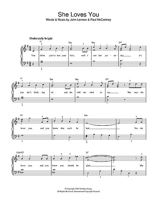 The Beatles She Loves You sheet music notes printable PDF score