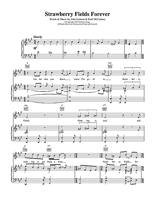 The Beatles Strawberry Fields Forever sheet music notes and chords. Download Printable PDF.