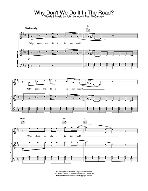 The Beatles Why Don't We Do It In The Road sheet music notes and chords. Download Printable PDF.