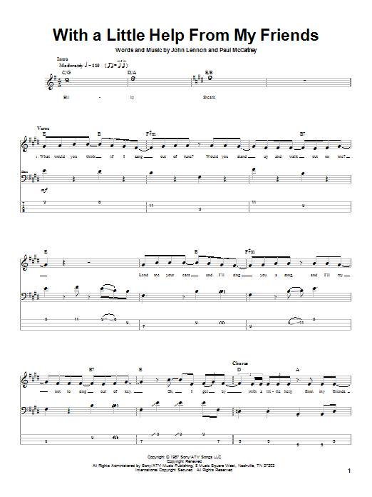 The Beatles With A Little Help From My Friends sheet music notes printable PDF score