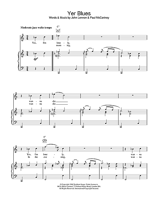 The Beatles Yer Blues sheet music notes and chords. Download Printable PDF.