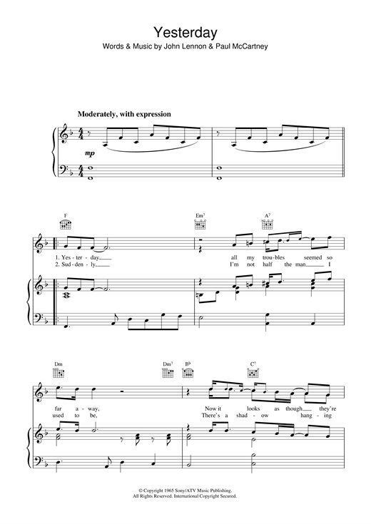 The Beatles Yesterday sheet music notes and chords. Download Printable PDF.