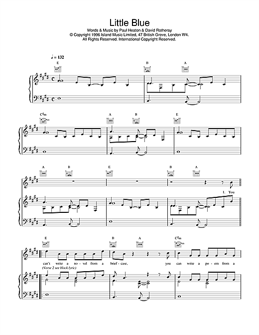 The Beautiful South Little Blue sheet music notes printable PDF score