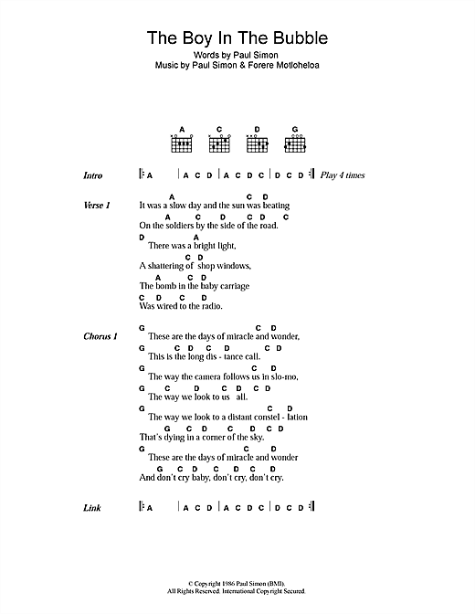 Paul Simon The Boy In The Bubble sheet music notes printable PDF score