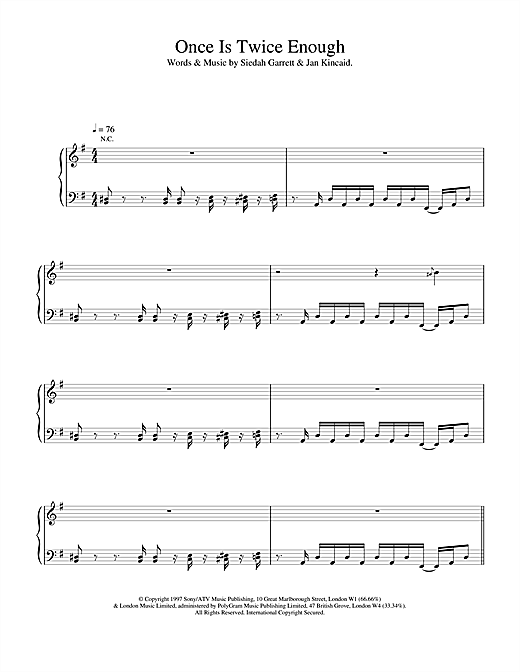 The Brand New Heavies Once Is Twice Enough sheet music notes printable PDF score