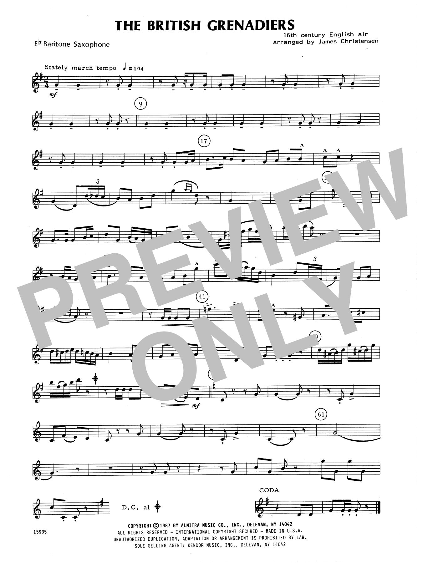 James Christensen The British Grenadiers - Eb Baritone Saxophone sheet music notes printable PDF score