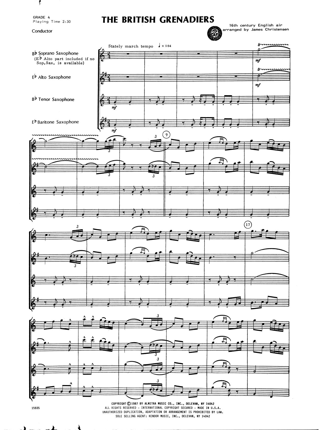 James Christensen The British Grenadiers - Full Score sheet music notes printable PDF score