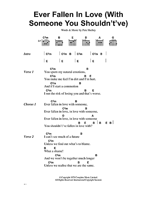 The Buzzcocks Ever Fallen In Love (With Someone You Shouldn't've) sheet music notes and chords. Download Printable PDF.