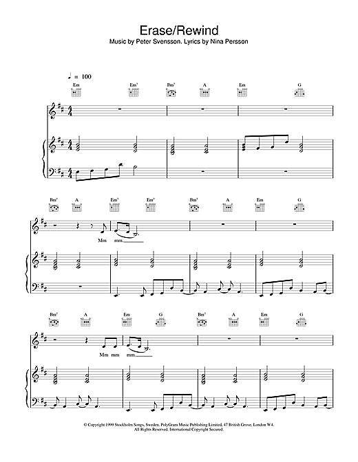 The Cardigans Erase / Rewind sheet music notes printable PDF score
