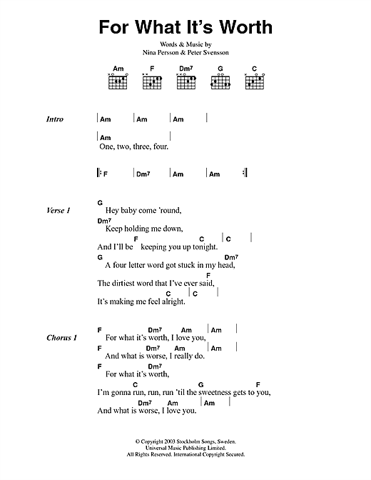 The Cardigans For What It's Worth sheet music notes printable PDF score