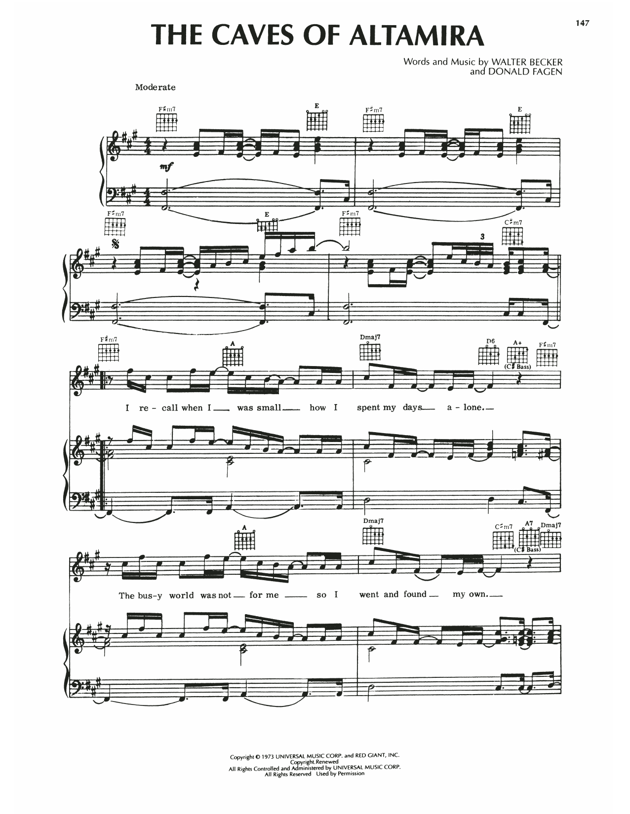 Steely Dan The Caves Of Altamira sheet music notes printable PDF score