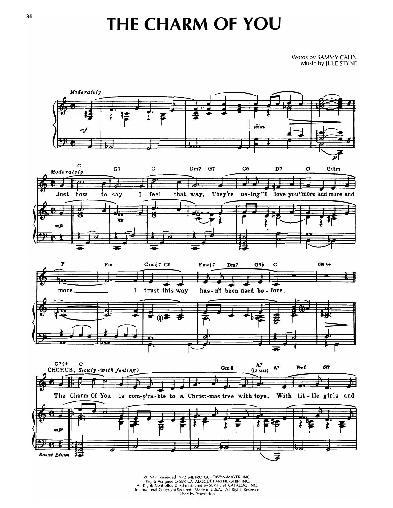 Sammy Cahn & Jule Styne The Charm Of You sheet music notes printable PDF score