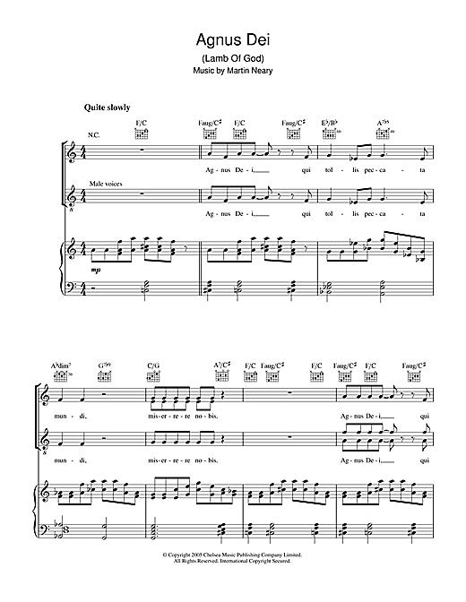 The Choirboys Agnus Dei (Lamb Of God) sheet music notes printable PDF score
