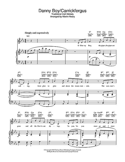 The Choirboys Danny Boy/Carrickfergus sheet music notes printable PDF score