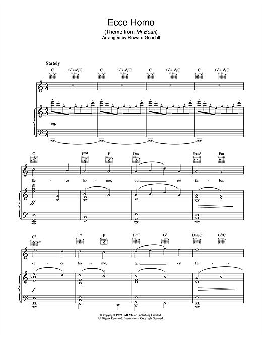 The Choirboys Ecce Homo (theme from Mr Bean) sheet music notes printable PDF score