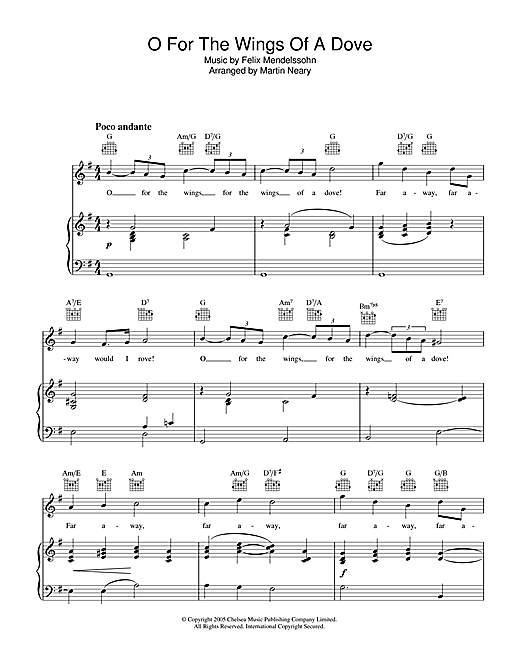 The Choirboys O For The Wings Of A Dove sheet music notes printable PDF score