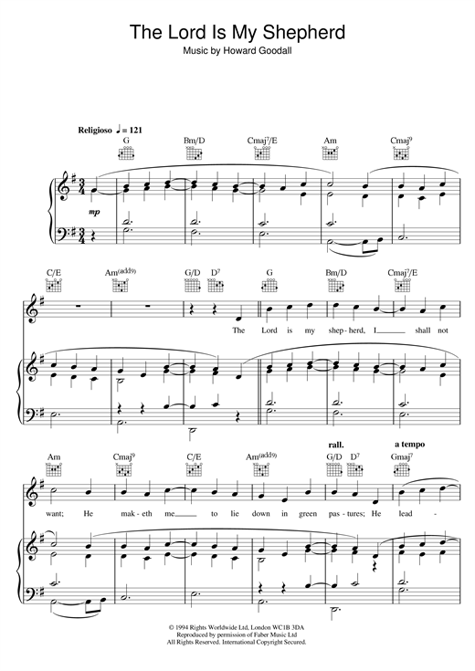 The Choirboys Psalm 23 - The Lord Is My Shepherd (theme from The Vicar Of Dibley) sheet music notes printable PDF score