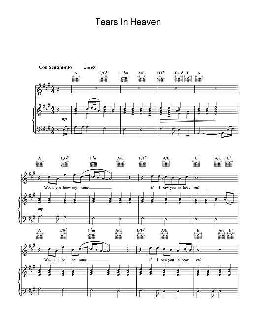 The Choirboys Tears In Heaven sheet music notes printable PDF score