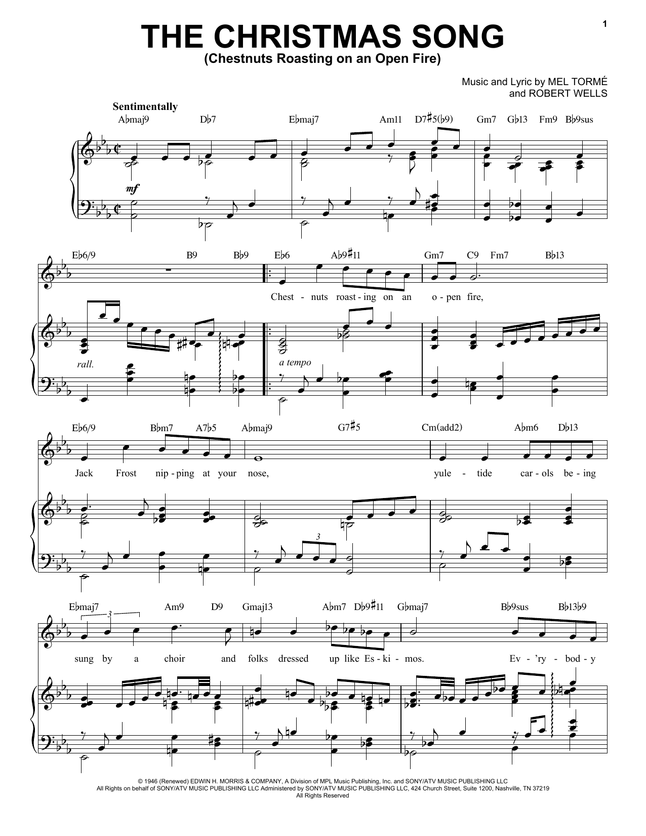 Mel Torme The Christmas Song (Chestnuts Roasting On An Open Fire) [Jazz Version] (arr. Brent Edstrom) sheet music notes printable PDF score