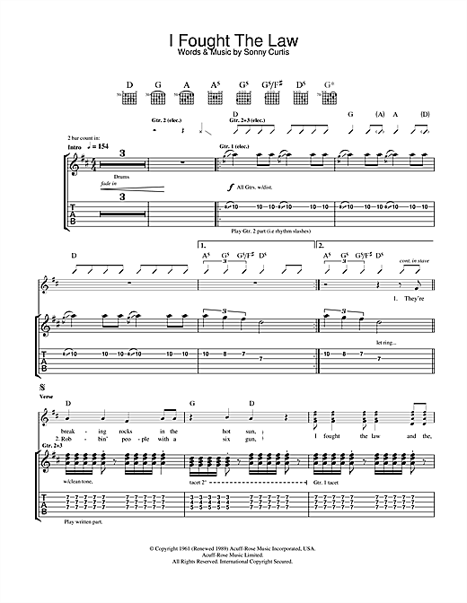 The Clash I Fought The Law sheet music notes and chords. Download Printable PDF.