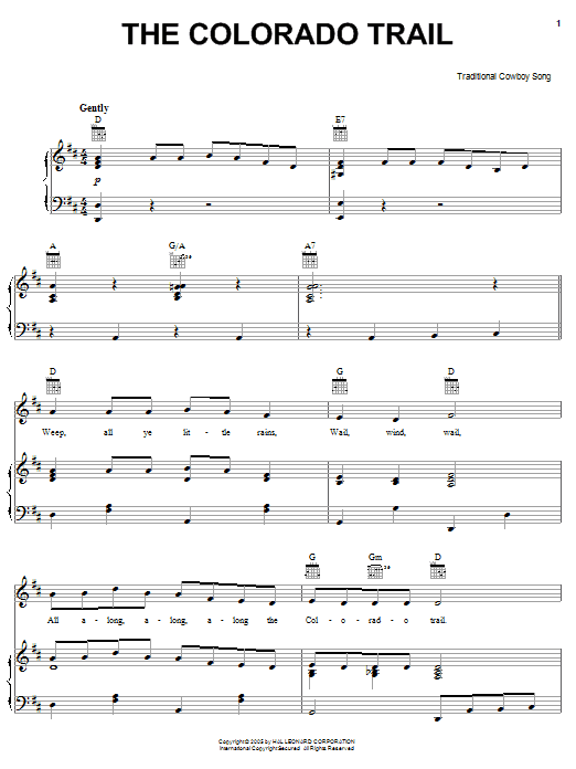 American Cowboy Song The Colorado Trail sheet music notes printable PDF score
