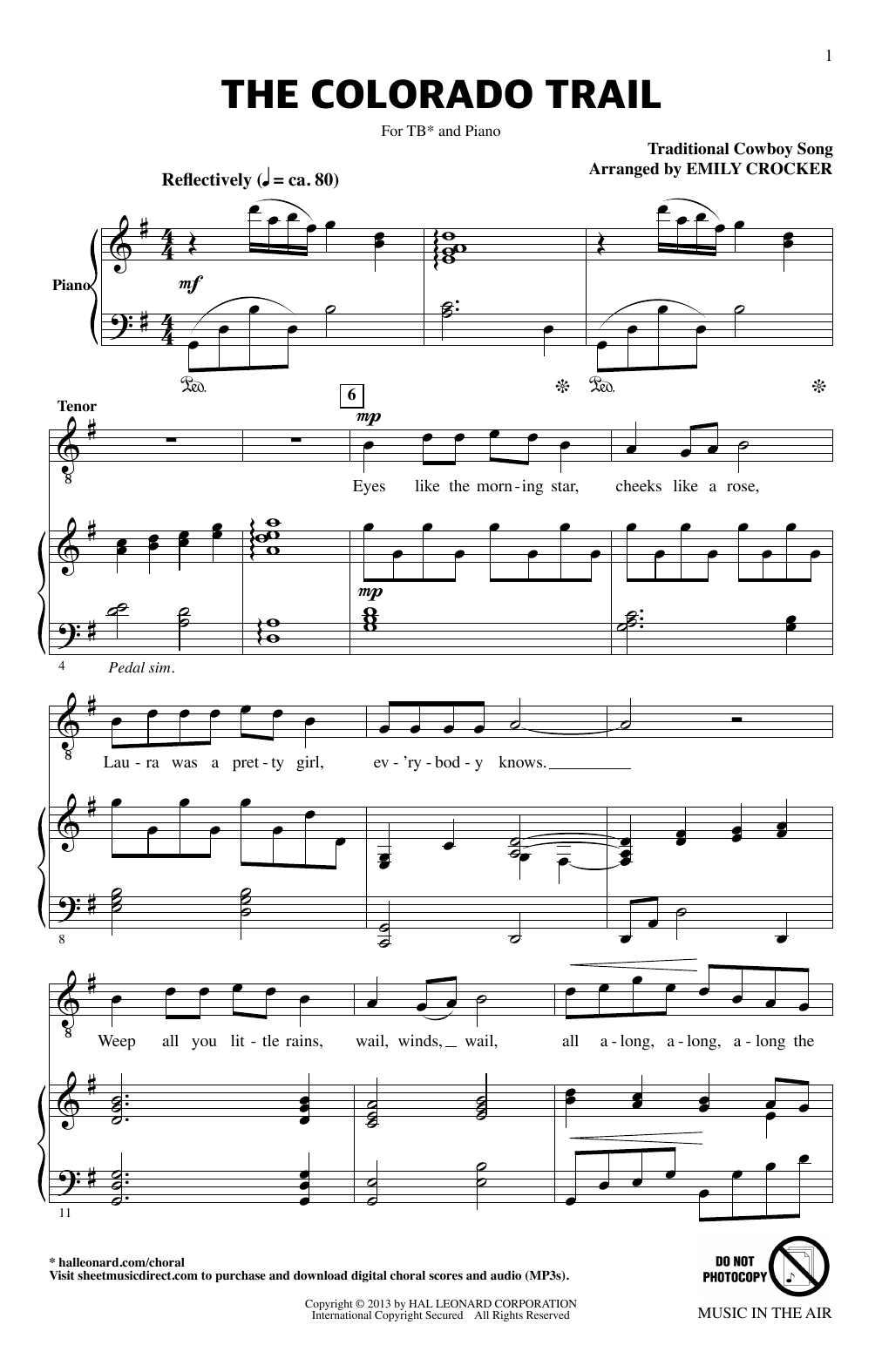 Emily Crocker The Colorado Trail (from Music In The Air) sheet music notes printable PDF score