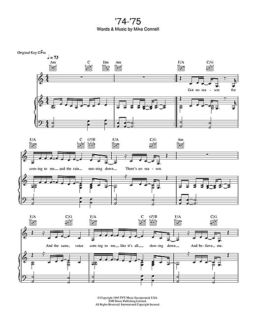 The Connells '74-'75 sheet music notes printable PDF score