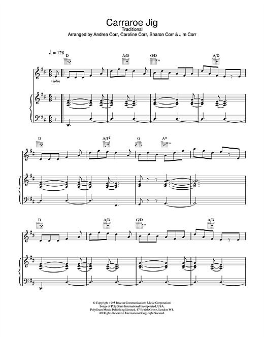 The Corrs Carraroe Jig sheet music notes printable PDF score