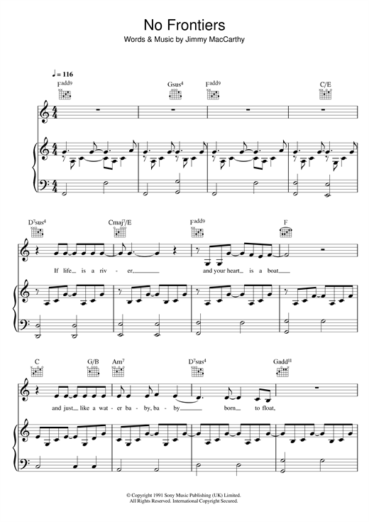 The Corrs No Frontiers sheet music notes printable PDF score