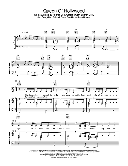 The Corrs Queen Of Hollywood sheet music notes printable PDF score