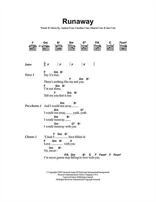 The Corrs Runaway sheet music notes printable PDF score