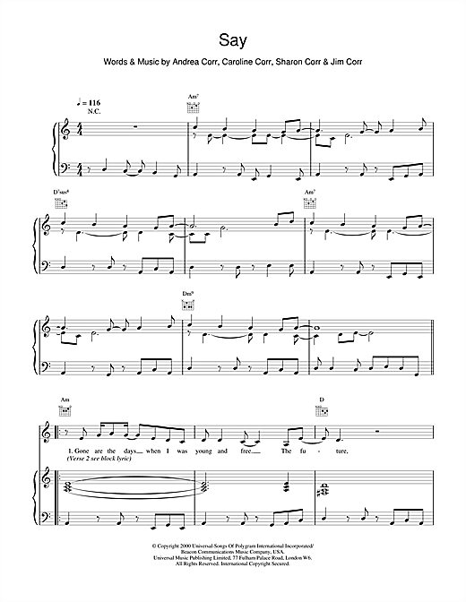 The Corrs Say sheet music notes printable PDF score