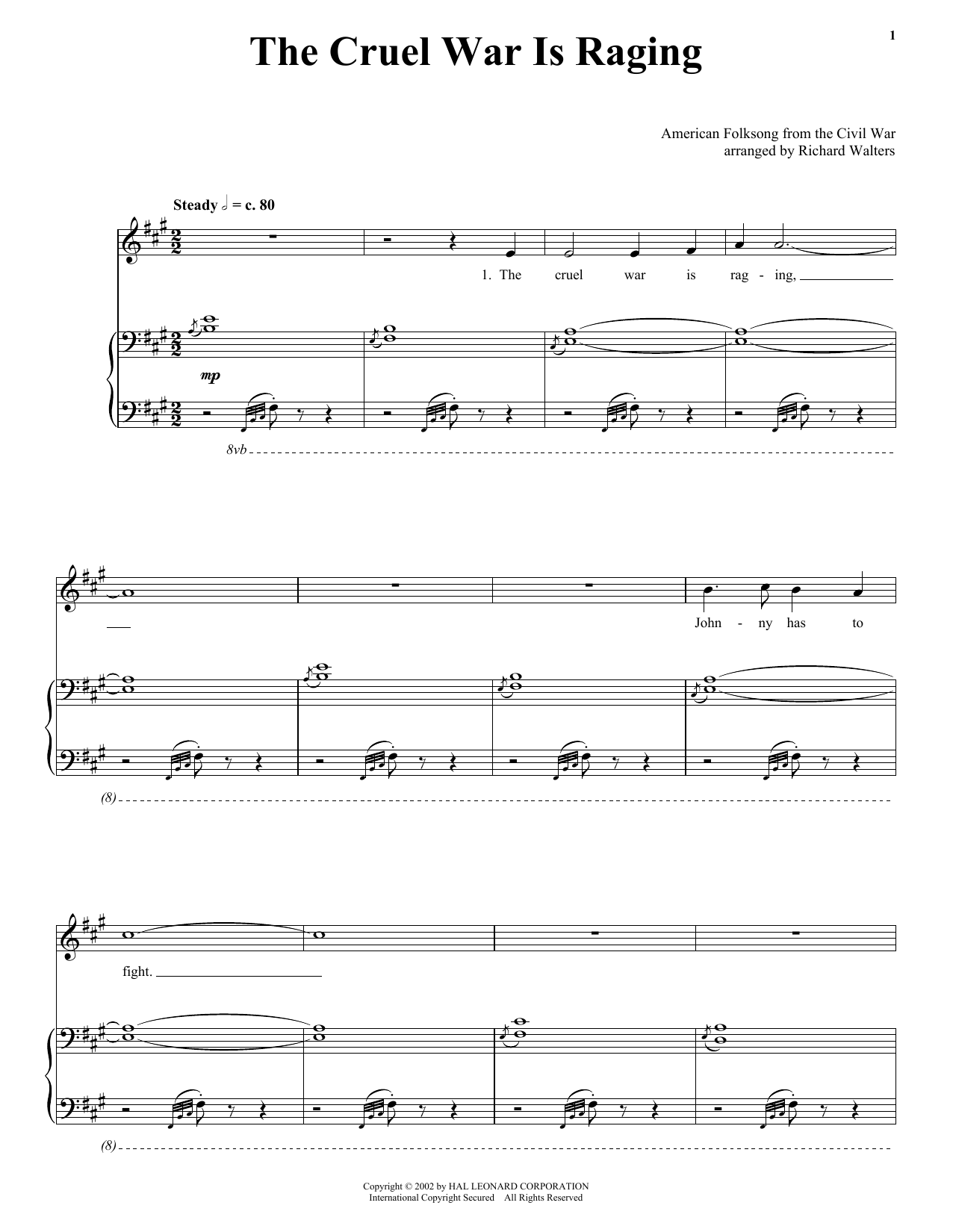 American Folk Song The Cruel War Is Raging sheet music notes printable PDF score